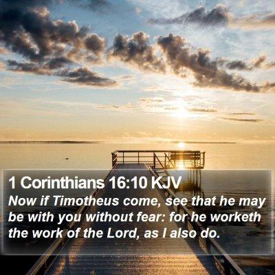 1 Corinthians 16:10 KJV Bible Verse Image
