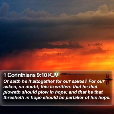1 Corinthians 9:10 KJV Bible Verse Image