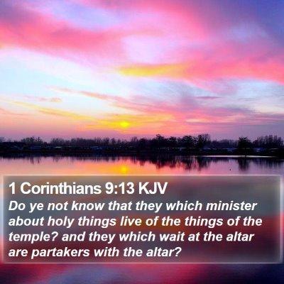 1 Corinthians 9:13 KJV Bible Verse Image