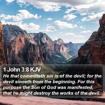 1 John 3:8 KJV Bible Verse Image