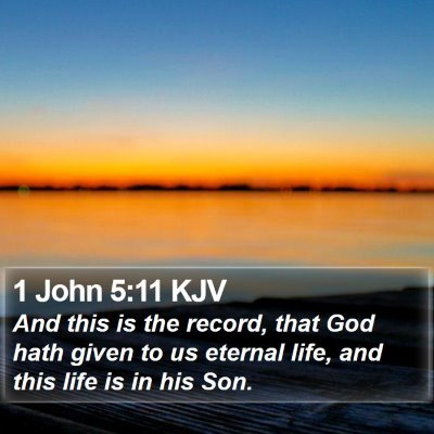 1 John 5:11 KJV Bible Verse Image