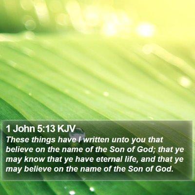 1 John 5:13 KJV Bible Verse Image