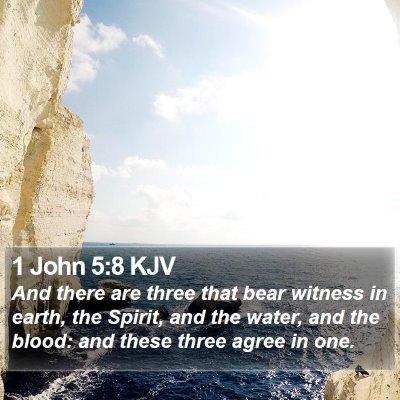 1 John 5:8 KJV Bible Verse Image