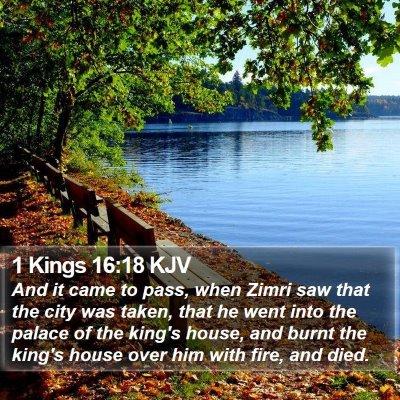 1 Kings 16:18 KJV Bible Verse Image