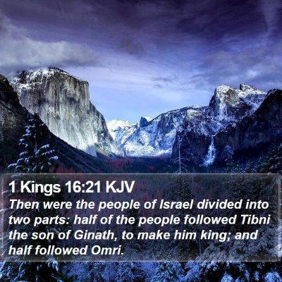 1 Kings 16:21 KJV Bible Verse Image