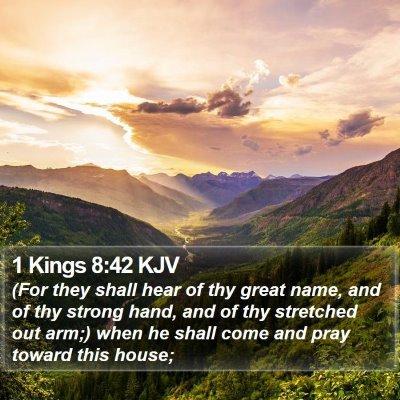 1 Kings 8:42 KJV Bible Verse Image