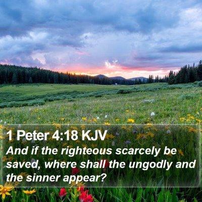 1 Peter 4:18 KJV Bible Verse Image