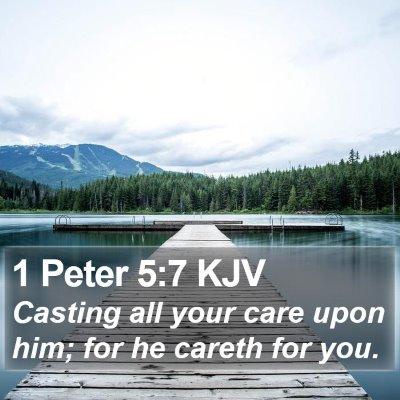 1 Peter 5:7 KJV Bible Verse Image