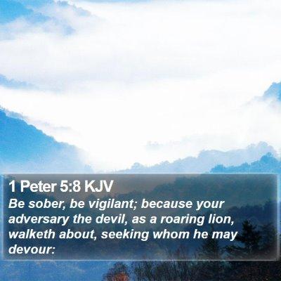 1 Peter 5:8 KJV Bible Verse Image
