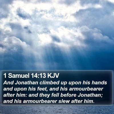 1 Samuel 14:13 KJV Bible Verse Image