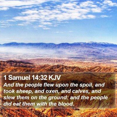 1 Samuel 14:32 KJV Bible Verse Image