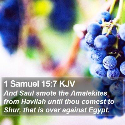 1 Samuel 15:7 KJV Bible Verse Image