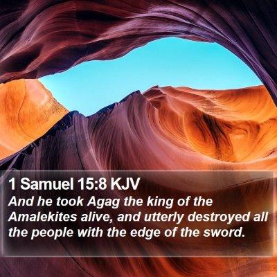 1 Samuel 15:8 KJV Bible Verse Image