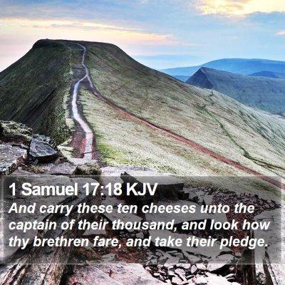 1 Samuel 17:18 KJV Bible Verse Image