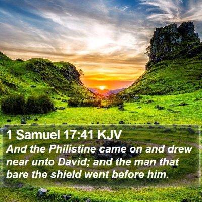 1 Samuel 17:41 KJV Bible Verse Image