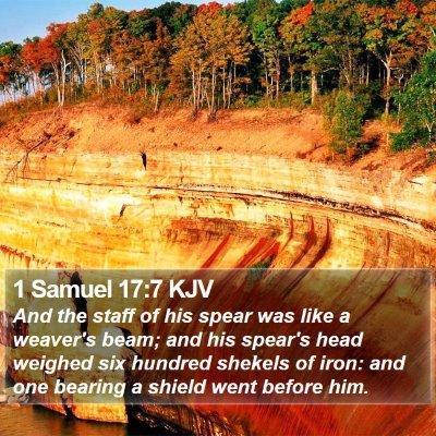 1 Samuel 17:7 KJV Bible Verse Image