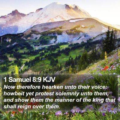 1 Samuel 8:9 KJV Bible Verse Image