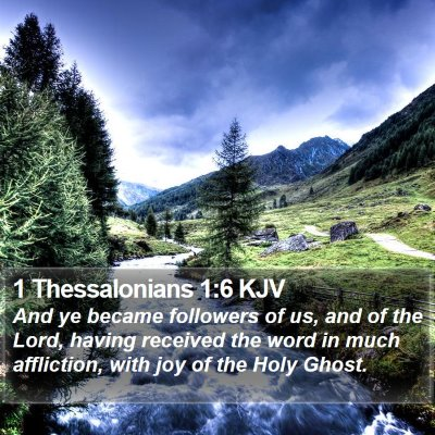 1 Thessalonians 1:6 KJV Bible Verse Image