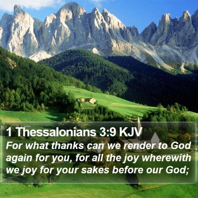 1 Thessalonians 3:9 KJV Bible Verse Image