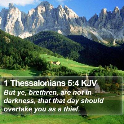 1 Thessalonians 5:4 KJV Bible Verse Image