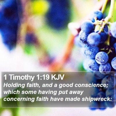 1 Timothy 1:19 KJV Bible Verse Image