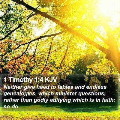 1 Timothy 1:4 KJV Bible Verse Image