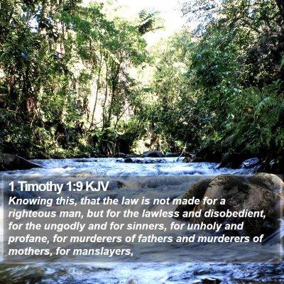 1 Timothy 1:9 KJV Bible Verse Image
