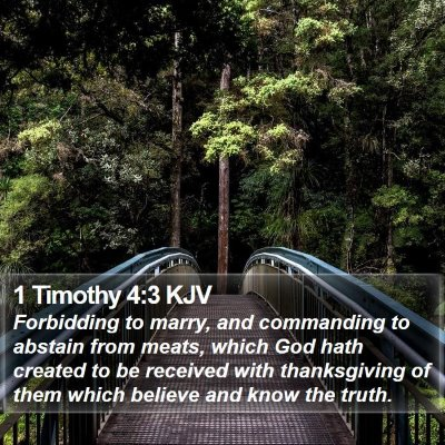 1 Timothy 4:3 KJV Bible Verse Image
