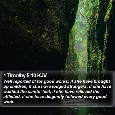 1 Timothy 5:10 KJV Bible Verse Image