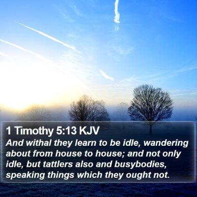 1 Timothy 5:13 KJV Bible Verse Image