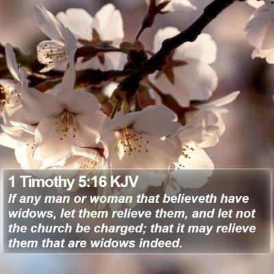 1 Timothy 5:16 KJV Bible Verse Image