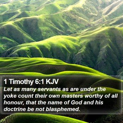 1 Timothy 6:1 KJV Bible Verse Image