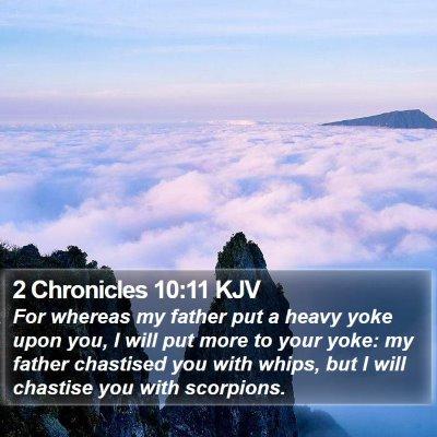 2 Chronicles 10:11 KJV Bible Verse Image