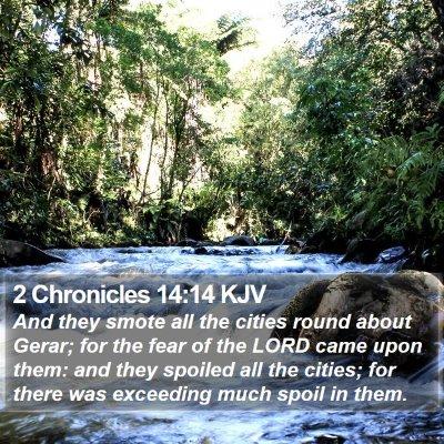2 Chronicles 14:14 KJV Bible Verse Image