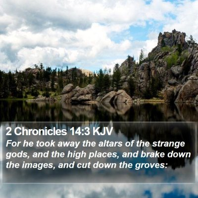 2 Chronicles 14:3 KJV Bible Verse Image
