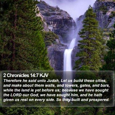 2 Chronicles 14:7 KJV Bible Verse Image