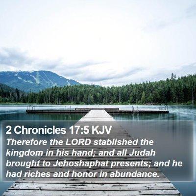 2 Chronicles 17:5 KJV Bible Verse Image
