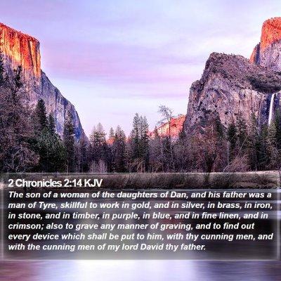 2 Chronicles 2:14 KJV Bible Verse Image