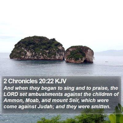 2 Chronicles 20:22 KJV Bible Verse Image
