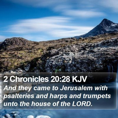 2 Chronicles 20:28 KJV Bible Verse Image