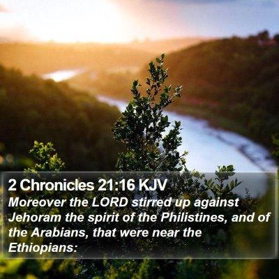 2 Chronicles 21:16 KJV Bible Verse Image