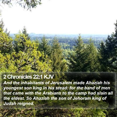 2 Chronicles 22:1 KJV Bible Verse Image