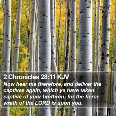 2 Chronicles 28:11 KJV Bible Verse Image