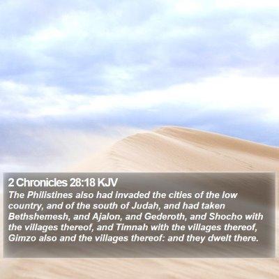 2 Chronicles 28:18 KJV Bible Verse Image