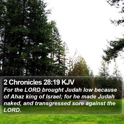 2 Chronicles 28:19 KJV Bible Verse Image
