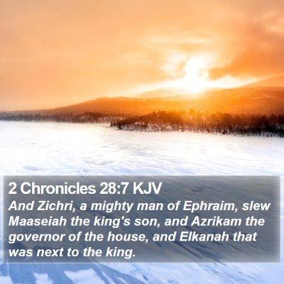 2 Chronicles 28:7 KJV Bible Verse Image