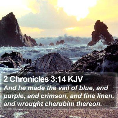 2 Chronicles 3:14 KJV Bible Verse Image