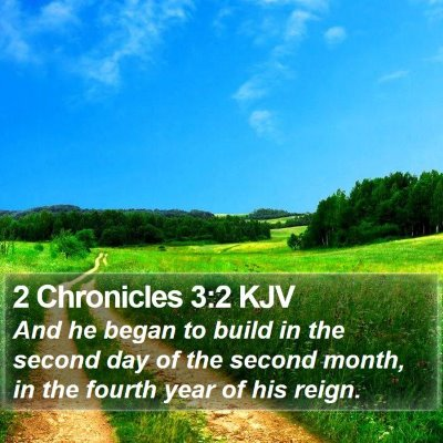 2 Chronicles 3:2 KJV Bible Verse Image