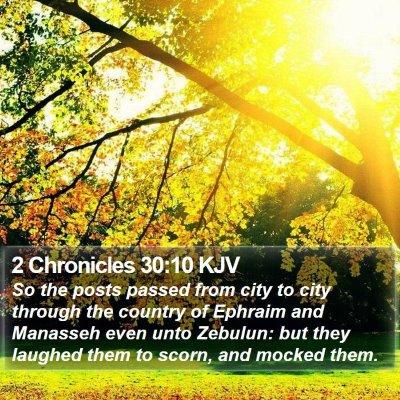 2 Chronicles 30:10 KJV Bible Verse Image