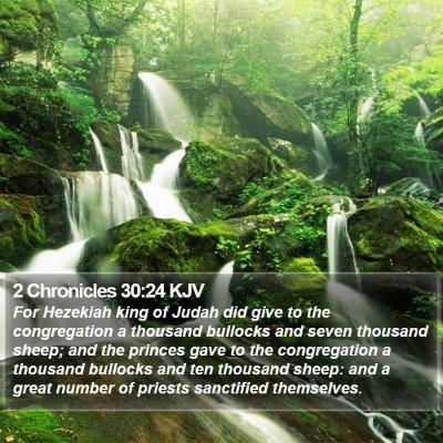 2 Chronicles 30:24 KJV Bible Verse Image
